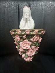 Vintage Praying White Ceramic Madonna Figure Statue With Floral Wall Altar