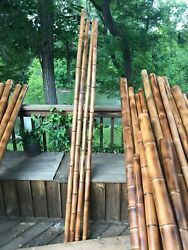 Lot Of 4 Large 1.5-2.0diam. Flame Cured Bamboo Poles-indoor/outdoor Decor