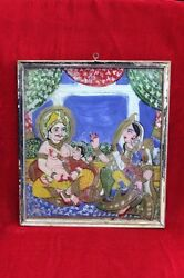 Photo Frame 1900 Old Vintage Antique Glass Painting With Frame Collectible Ph-47