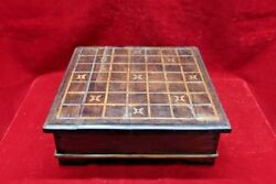 Wooden Game Tray Box Old Vintage Indian Handmade Collectible Bf-78