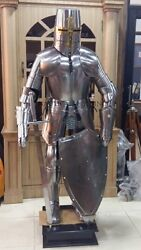Rare Medieval Knight Suit Of Templar Armour Tunic Combat Full Body Armour Stand