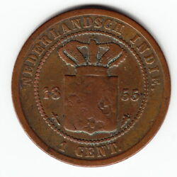 Netherlands East Indies 1 Cent 1855 Km307.1 Legend Above Date - Extremely Rare