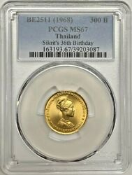 1968 Thailand Gold Pcgs Ms67 300 Baht Sikritand039s 36th Birthday Registry Coin