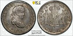 1821 Bolivia 1/2 Real Pcgs Ms64 Pj Silver Registry Coin