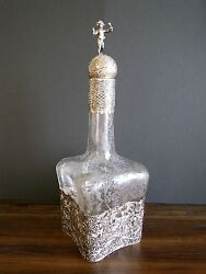 Antique German Hanau 800 Silver Overlay Etched Glass Decanter 1850-1899