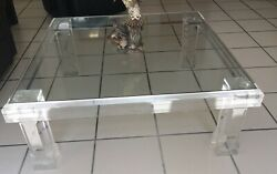 Mid Century Modern Acrylic And Glass Coffee Table - Vjj 1977