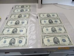 1934-d And 1 1934 C-5.00 Silver Certificates Lot Of Ten 21544 Pmb As