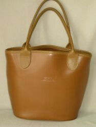 GREAT VINTAGE FRANCE LONGCHAMP TAN LEATHER TOTE BUCKET HANDBAG MADE in FRANCE $99.00