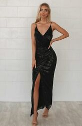 Stunning Black Shimmer Sequin Ruched Formal and Formal Events Gown AU $169.99