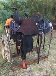 Western Leather Hand Carved And Tooled Roper Ranch Saddle With Suede Seat 212 18