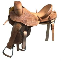 Western Natural Leather Hand Carved Strip Down Bronc Saddle 12 13,14 15 16
