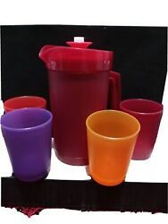 Tupperware Childrenand039s 5-pc Sparkle Party Set Mini Pitcher And 4 Mini Tumblers New