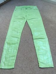 7 FOR ALL MANKIND WOMEN'S GIRLS SUMMER JEANS LIME SIZE 25 EXCELLENT CONDITION