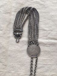 1900s Chinese Silver Pocket Watch Chain And Silver Coin Of Yuan Shikai