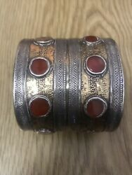 A Beautiful 19th Century Yamut Silver Gilted Braclet Nice Details Central Asia
