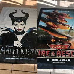 Disney Planes Fire And Maleficient 8ftx5ft Movie Theater Vinyl 2 Sided Authentic
