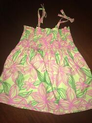16 Lilly Pulitzer Smocked Sun Top Pink & Green Jungle Flowers 14 Sh Ties XS