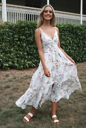 White And Pink Kahula Floral Button Down Tie-back Summer Maxi Dress