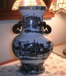 Vintage Lrg Victoria Ware Ironstone Black And White Rural Country House Motif Vase