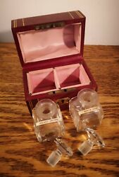 Pretty Art Deco Style Leather Covered Perfume Casket And With 2 Bottles By Rimmel