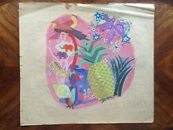 Painting Gouache Per Helene Bezombes Project Tapestry Nature Pineapple