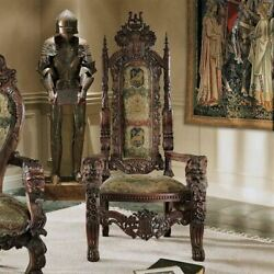 Medieval Gothic Antique Replica Hand Carved 68 Solid Mahogany Throne Chair