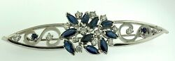 4.30 Carats~Diamonds + Sapphires~14Kt White Gold Cluster Lady's Large Brooch Pin