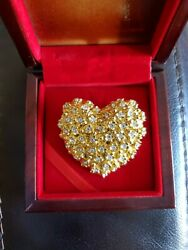 Best proposal gift ! Valentine Very Rare Jewelry Pure Gold Heart Brooch over 30g