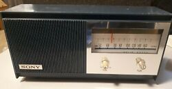 Vintage Sony Solid State Six Transistor Radio Tr-628, Works, Blue. Please Read