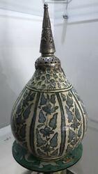 16th Century Safavid Vase With 19th Century Silver Top Beautiful Sell As It Is
