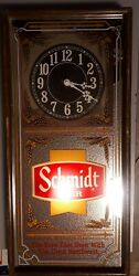 Schmidt Beer Lighted Sign And Clock 21 X 10 1/4 X 2 1/4 Wood Frame, Glass Front