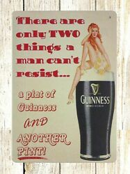 Retro Garage Signs Pint Of Guinness Pin-up Sexy Girl Tin Metal Sign