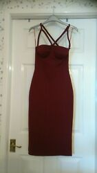 Maroon Strappy Dress By BooHoo Size 8