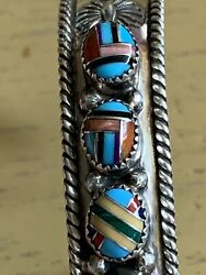 Vintage Robert Little Native American Navajo Sterling And Turquoise Inlay Bracelet