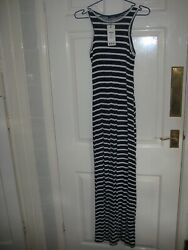 NWT Ladies long summer Dress size 10 in bluewhite stripe length 57