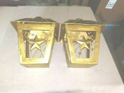 2 Gold Colored Metal Tea-light Candle Holders, Glitter And Stars On All Sides