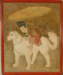 CHINESE ROYAL BOY RIDING DOG w UMBRELLA HUGE ENCHANTED MODERN PAINTING SIGNED
