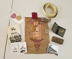 Lot Of Marine Current To Antique Pictures Medals Belt Buckles Etc Wwi Wwii