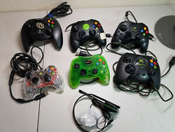 Lot Of 6 Microsoft Xbox Controllers Afterglow - Untested Plus New Xbox Headset