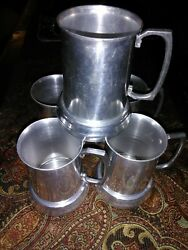 Vintage Set Of 5 Old Aluminum Mug Tankards With Clear Bottoms Made In Hong Kong