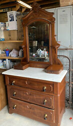 Vintage Marble Top Victorian Dresser With Mirror And Drawers White Swirl Marble