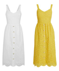 New Look White And Yellow Broderie Button Front Summer Holiday Midi Casual Dress