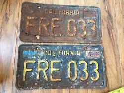 1963 Base California License Plate Pair - Fre 033 - Restoration Craft Quality