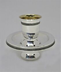 Fine 925 Sterling Silver Handmade Elegant Border Shiny Mayim Achrunim Cup And Bowl