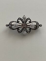 Brooch 19th Century Diamond, Morganite Center And Silver Topped Gold Brooch