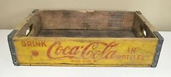 Vintage Coca Cola Soda Wood Crate Yellow Red Paint San Francisco Made Coke 1968