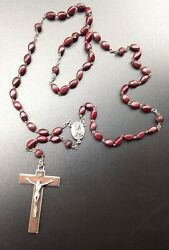 Vintage Rosary Carved Beads Crucifix Italy Rosewood Cross Beautiful Fine Antique