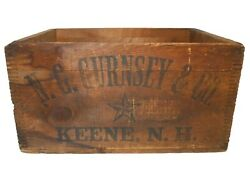 Rare Early 20th C N. G. Gurnsey And Co. Keene, Nh Ink Stamped Wood Box Soda Crate