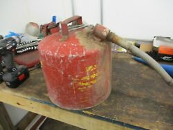Vintage Eagle Metal Galvanized Gas Fuel Oil Can Usa With Metal Spout 5 Gal 4 Gal