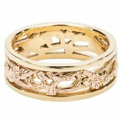 10k Rose Tree Of Life + 10k Yellow Rails Awe Ring By Keith Jack